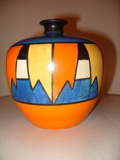 Decoskin » Clarice Cliff New Flag Pattern vase stock reference NB532. A rare pattern on a rare shape.