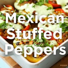 """""""Colourful bell peppers stuffed with Jade Pearl Rice beans salsa herbs and spices. Then roasted until tender and fragrant and served with a creamy cashew dressing. Seafood Recipes, Mexican Food Recipes, Vegetarian Recipes, Dinner Recipes, Cooking Recipes, Healthy Recipes, Salad Recipes, Mexican Stuffed Peppers, Food Videos"""