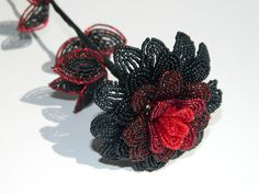 Gothic Black and Red French Beaded Flower by BeadedFleur on Etsy, $25.00