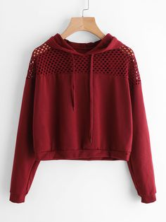 SheIn offers Hollow Fishnet Insert Hoodie & more to fit your fashionable needs. Teenager Mode, Teenager Outfits, Outfits For Teens, Trendy Outfits, Mode Outfits, Girl Outfits, Fashion Outfits, Fashion Trends, Mode Kpop