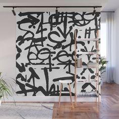 Graffiti Pattern Wall Mural by The Old Art Studio - X Graffiti Wall Art, Street Art Graffiti, Mural Art, Kids Wall Murals, Surf House, Wall Patterns, Garage Ideas, Old Art, Simple Art