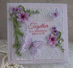 Hello everyone, Sharing my DT samples for Tattered Lace. Butterfly Cards, Flower Cards, Tattered Lace Cards, Purple Cards, Fabric Postcards, Bee Cards, Spellbinders Cards, Cardmaking And Papercraft, Mothers Day Cards