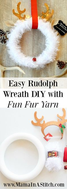 Easy Yarn Wreath DIY for Christmas! Such a simple tutorial that includes a video on how to make this cheap wreath! Rudolph Christmas, Christmas Makes, Christmas Holidays, Cheap Wreaths, Ribbon Wreaths, Christmas Yarn Wreaths, Cheap Holiday, Navidad Diy, Diy Wreath