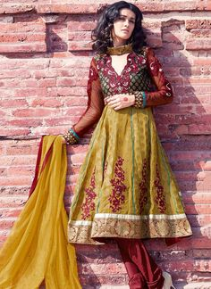Beautiful Brown Viscose Churidar Suit