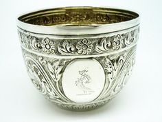 Solid Silver Sugar Bowl Sterling Antique Crested by DartSilverLtd
