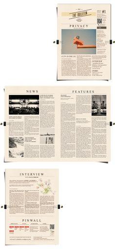 Bulletin for UCL   Editorial design by Guilherme de Bernardo S., via Behance