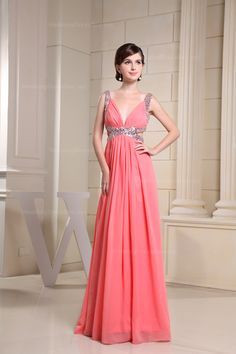 Sexy V-neck floor-length chiffon party dress