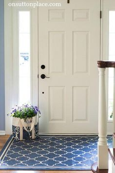 How to Refresh a Small Entry - On Sutton Place Shows you easy, DIY ways to refre. How to Refresh a Small Entry – On Sutton Place Shows you easy, DIY ways to refresh a small entry. Apartment Entrance, Entrance Foyer, Entrance Design, House Entrance, Entry Doors, Front Doors, Apartment Ideas, Apartment Living, Entrance Ideas