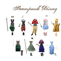 Steampunk Disney Princesses by tealtigress on Polyvore featuring Neosens, Steve Madden, Franco Sarto and POLICE