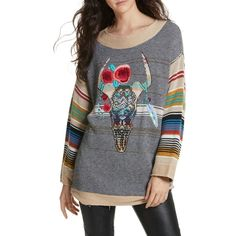 FREE PEOPLE Desert Rose Sweater ($179) ❤ liked on Polyvore featuring tops, sweaters, free people tops, striped crew neck sweater, rose sweater, embroidered long sleeve top and long sleeve tops