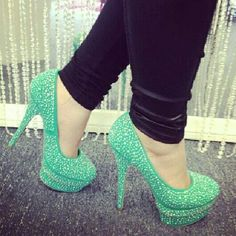 Sparkly green shoes Shoes