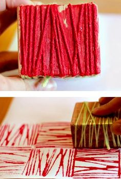 AGES modified per age DIY yarn block printing. Would be great combined with elements of art discussion in galleries. Diy And Crafts, Crafts For Kids, Arts And Crafts, Crafts With Yarn, Wood Crafts, Fabric Painting, Diy Painting, Block Painting, Encaustic Painting