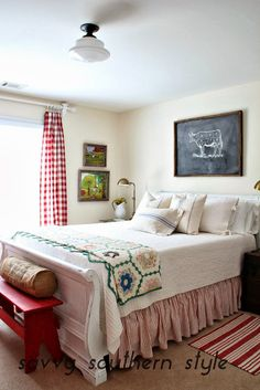 Savvy Southern Style: Home Tour Farmhouse style guest room. This room was another project I did this year. It had a nautical vibe for a few years, but I was ready for brighter fresher room and added touches of farm house decor that I love