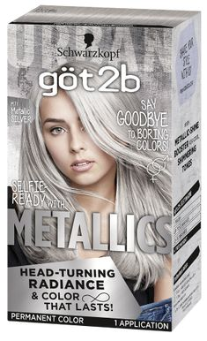 Metallic Permanent Hair Color, Metallic Silver Metallic Permanent Hair Color, Metallic Silver More from my site The BEST Permanent Silver Hair Dye? Grey Blonde Hair, Silver Blonde, Metallic Hair Dye, Best Silver Hair Dye, Hair Color Brands, Hair Color Techniques, Permanent Hair Color, Bleached Hair, Hair Highlights