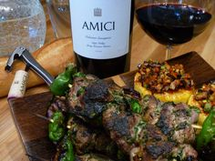 """This recipe, """"Herb-Marinated Lamb Skewers with Harvest Ratatouille and Parmesan Polenta Squares,"""" was developed by our chef to pair with Amici Cellars Spring Mountain Cabernet Sauvignon. Find the recipe at http://www.amicicellars.com/recipes"""