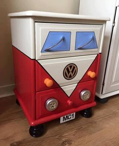 Child's dresser painted to resemble a van or truck.