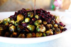 Roasted Brussels Sprouts with Balsamic and Cranberries