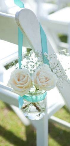 Easy DIY decoration for an outdoor wedding..   and its sweet and romantic.