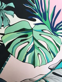 Monstera Leaf Painted Pattern | Frunza Monstera Pictata