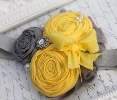 Yellow Shabby Chic Headband- Grey and Yellow HEADBANDS-Rosette Headbands-Gray Headband-Baby Headbands-Shabby Headbands-Vintage Bows. $14,99, via Etsy.