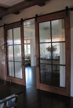 "redo the slinding ""barn door"" to have old window inserts from the windows in the basement collecting dust from the old barn recycle pile. Would make great use of them and be beautiful and functional. use for master bedroom and closet/bathrm doors #closetinserts"