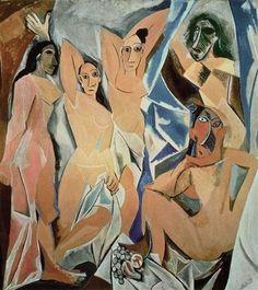 """Dieses Bild von Picasso wird als Wendepunkt in der Malerei gesehen. Mit diesem Meisterwerk namens """"Les Demoiselles d'Avignon"""" leitete der, aus Málaga stammende Künsteler, die Epoche des Kubismus ein."""