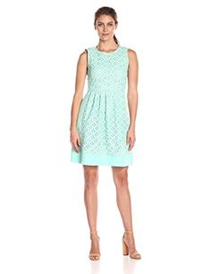 76c74b9f7358 Jessica Howard Womens Sleeveless Pintuck Fit and Flare Minty Combo 14 * You  can get additional