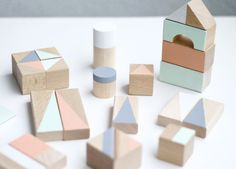 Large hand painted eco wooden blocks will make a perfect gift for any occasion. Beautiful 4 pastel colours and geometrical patterns make