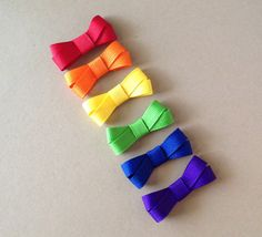 Set of small rainbow colored hair bows by BrownEyedBowtique, $5.50