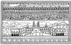 Free coloring page coloring-spanish-architecture. Drawing inspired by hispanic architecture