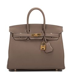 e7d592ba03b3 Hermes Etoupe Birkin 25cm of togo leather with gold hardware, in new or  never worn