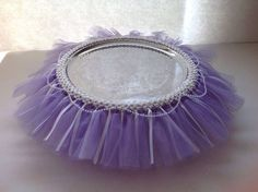 Tutu cake stand - Dollar Store serving platter with a tutu stretched around it…
