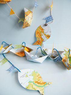 Weltenbummler  Papier-Girlande,senkrecht,Boot von Papilottas Papierwerkstatt auf DaWanda.com