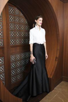 crisp white shirt (popped collar) ball skirt