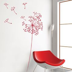 I always love this one. picture it in white or pale yellow on her light gray walls. dreamy. Anglesey Dandelion flowers red by miaandcoADzif on Etsy