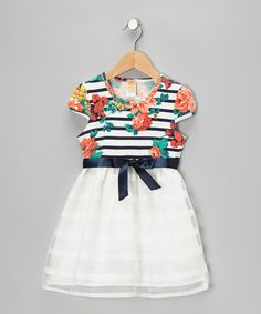 Take a look at this Navy & White Stripe Floral Dress - Toddler & Girls by Mia Belle Baby on #zulily today!