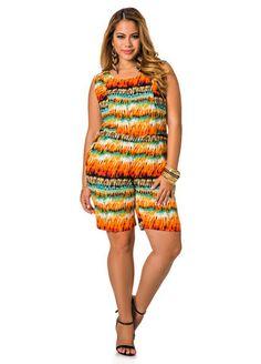 2415ad575d Print Linen Crochet Back Romper Plus Size Summer