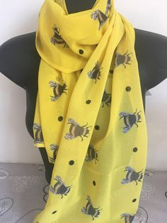 in size, gorgeous printed yellow chiffon scarf. A bright addition to any outfit I Love Bees, Bee Sting, Bee Design, Design Art, Bee Jewelry, Bee Gifts, Bee Art, Bee Necklace, Bee Theme