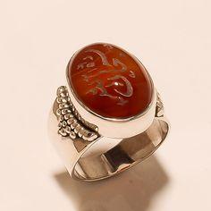 Islamic Golden Words from Allha on Agate Gemstone 925 Sterling Silver Fine Ring #Handmade #SpiritualRing #Eid