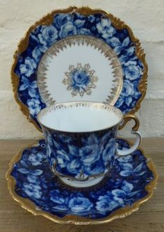 Vintage Rosenthal Alice Bavaria Blue Roses Tea Cup Saucer and Tea Plate Trio.