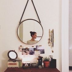 for the bedroom- 35 Clever + Beautiful ways to Decorate with Mirrors, courtesy of DS readers Home Bedroom, Bedrooms, Round Mirrors, Home Decor Inspiration, My Room, Retro, Sweet Home, House Design, Mirror Ideas