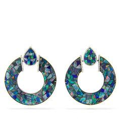 Opal Mosaic Hoop Earrings