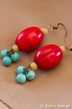 Red and Turquoise Earrings  Noemia Collection by EdasDesign, $12.00