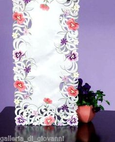"Purple Pansy Lace Table Runner 36"" Pansies Flower Floral Lavender 