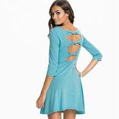 Sexy Backless Bowknot Round Neck 3/4 Sleeve Solid Color Dress