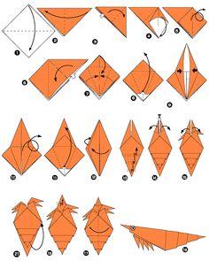 Crevette en origami
