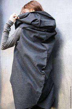 Купить Кашемировое пальто без рукавов Asymmetric - темно-серый, пальто, кашемировое пальто