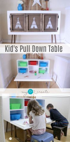 Make a beautiful yet functional piece of furniture that turns into a kids pull down table! Tutorial and plans at - April 28 2019 at Diy Furniture Projects, Diy Wood Projects, Repurposed Furniture, Furniture Makeover, Furniture Makers, Kid Furniture, Furniture Online, Furniture Stores, Woodworking For Kids