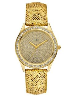 GUESS Gold Glitter Watch GUESS. $85.00. watch. gold-tone dial with crystal accents. analog function. water resistant. Women's jewelry