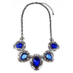 Sapphire Iced Teardrop Gemstone Statement Necklace
